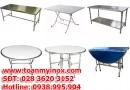 Bàn inox 304, bàn inox tròn, bàn inox chữ nhật, bàn tròn inox 1m2